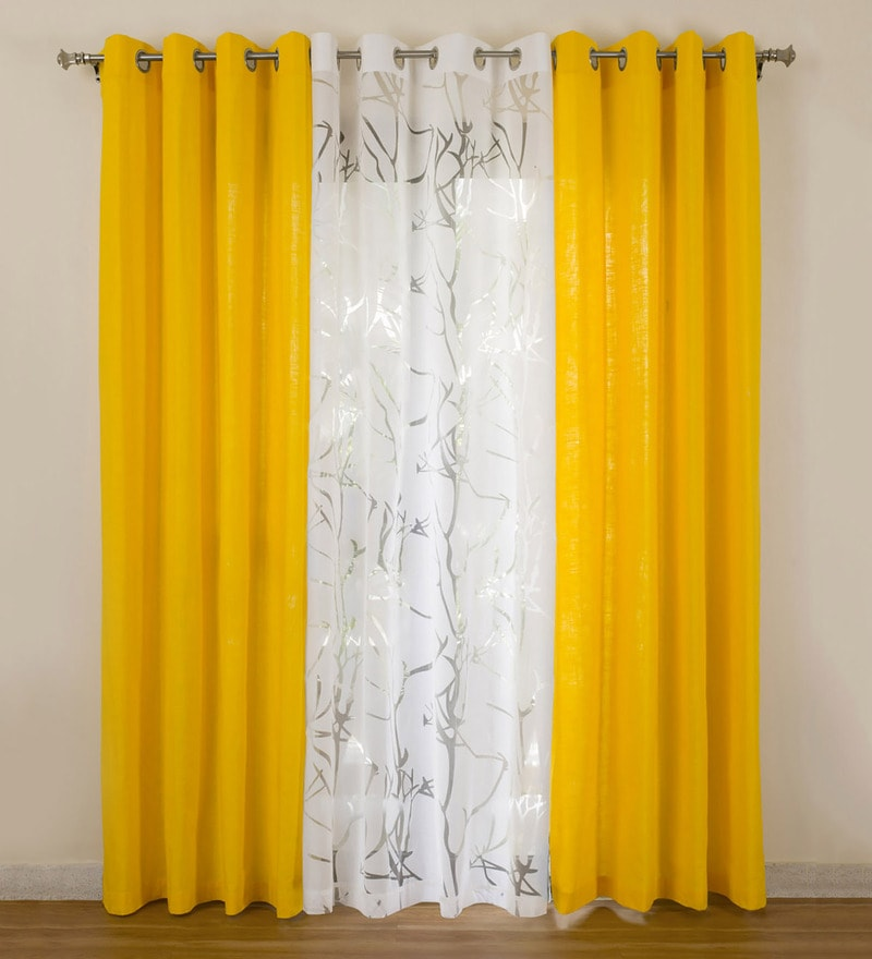 Yellow Cotton 55x84 Inch Door Curtains - Set of 3 by Rosara