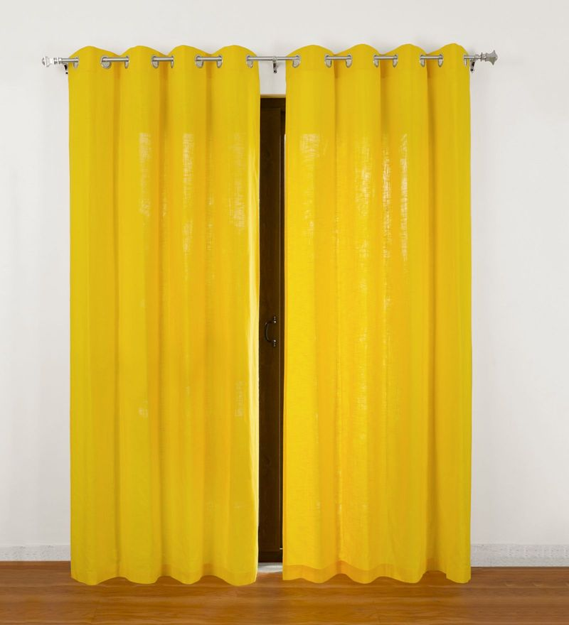 Yellow Cotton Lukas Organic Linen Look Door Curtain by Rosara