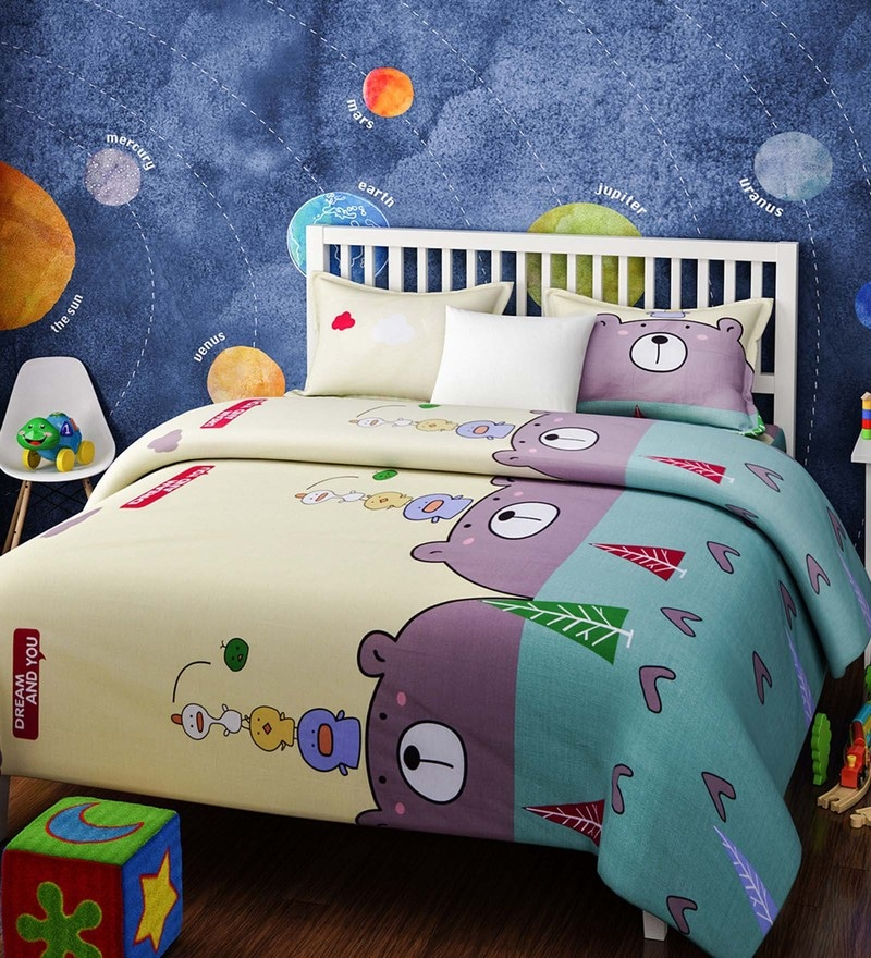 Yellow Cotton Single Size Panda and Birds Kids Bedsheet - Set of 2 by Rago
