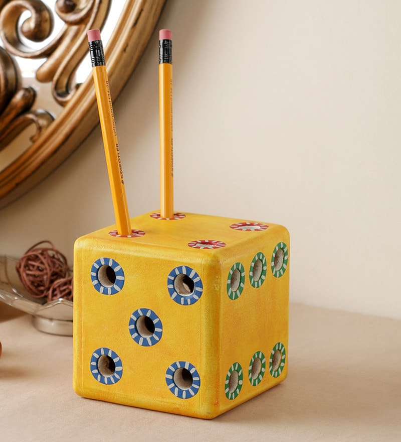 Yellow Engineered Wood Dice Pen Stand by VarEesha