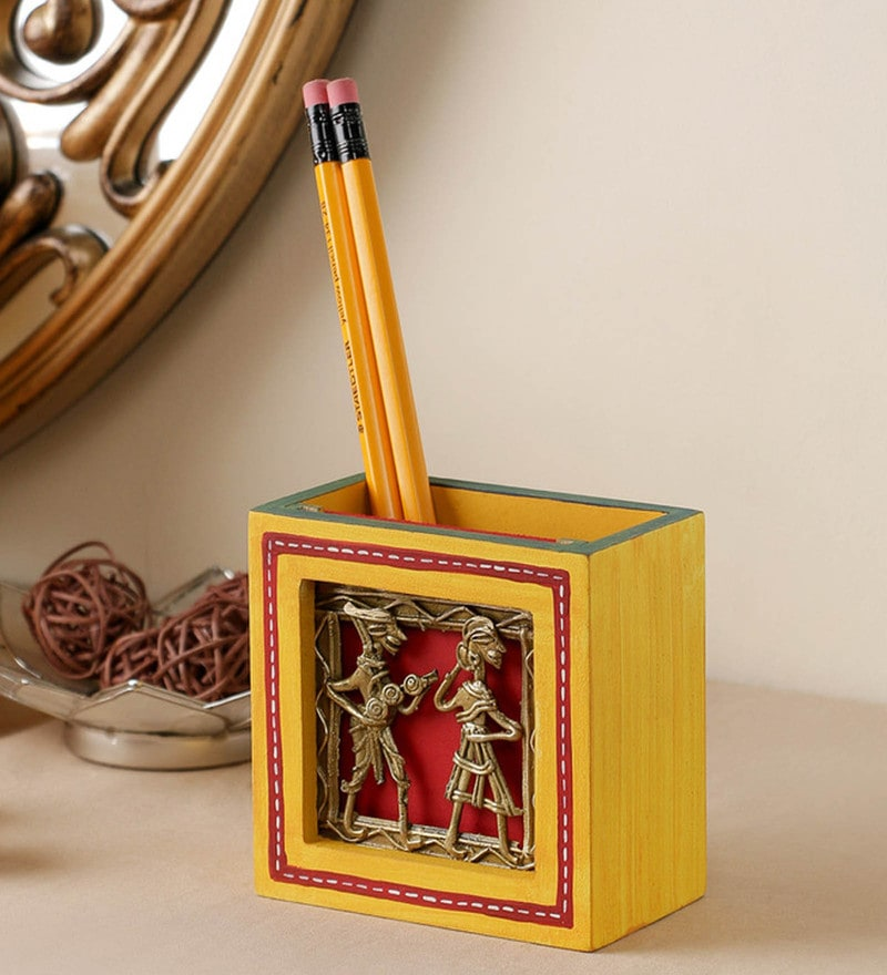 Yellow Engineered Wood Hand Painted Dhokra Pen Stand by VarEesha