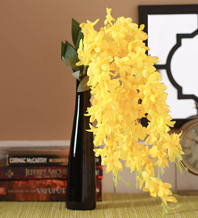 Yellow Fabric Magnificent 5 Head Drooping Flower Bunch by Fourwalls