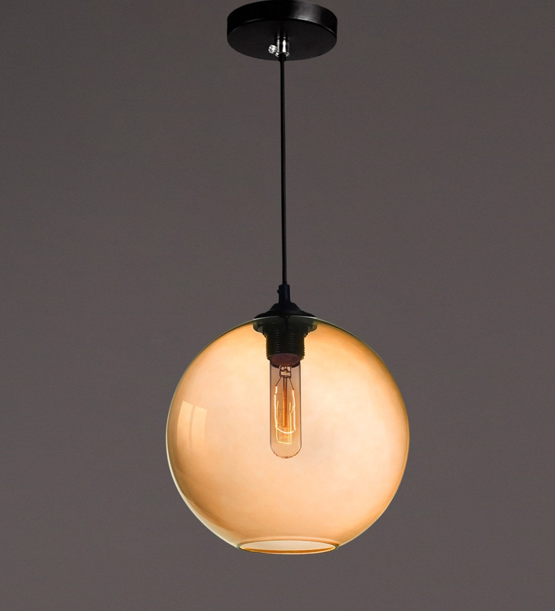 Yellow Iron and Glass Pendant by Voylite