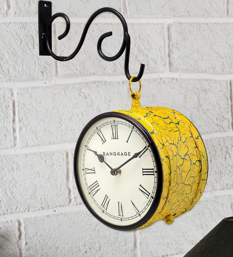 Yellow MDF & Metal Handcrafted Crackle Double Side Platform Clock by Rang Rage
