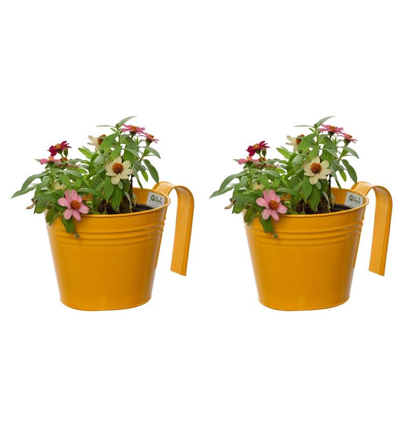 Yellow Metal Railing Planters by Green Gardenia - Set of 2