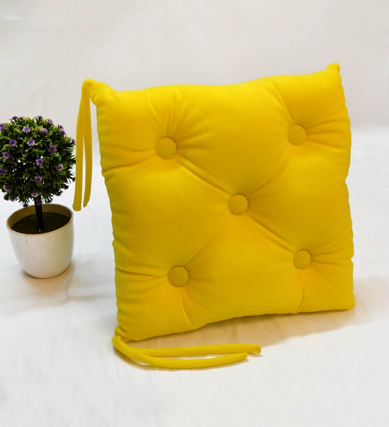 Yellow Microfiber and Velvet 16 x 16 Inch Chair Pad by StyBuzz