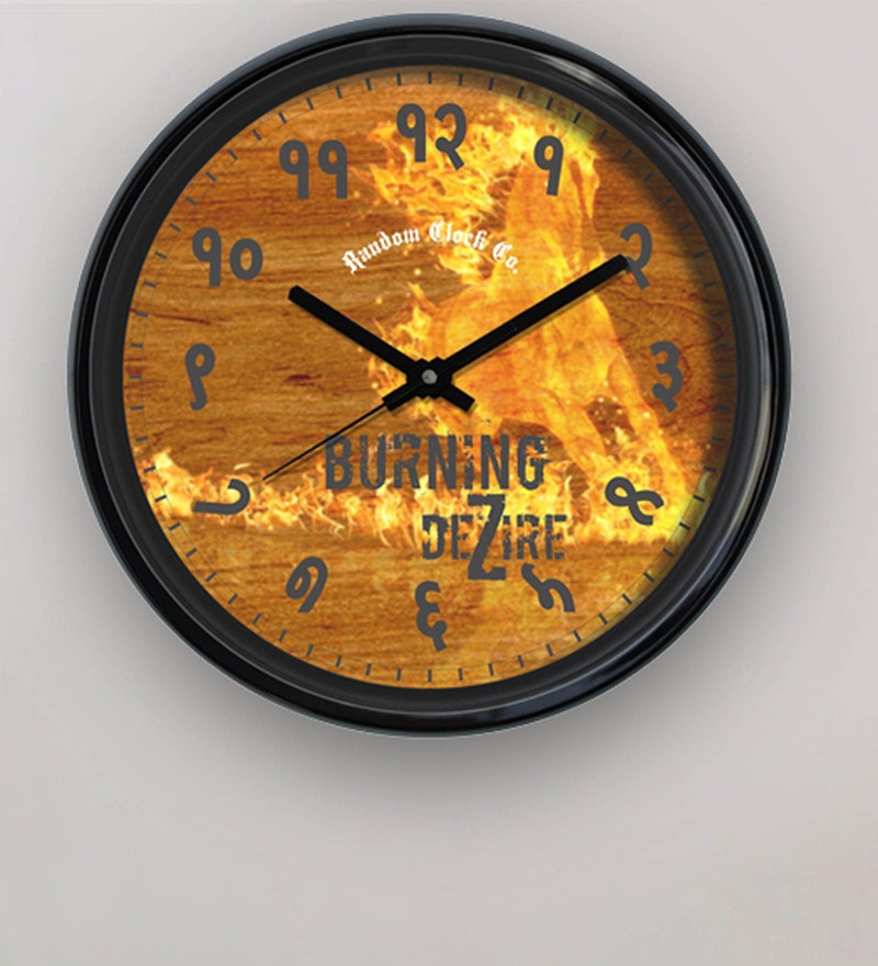 Yellow Plastic 12 x 2 x 12 Inch Burning Dezire Wall Clock by Random