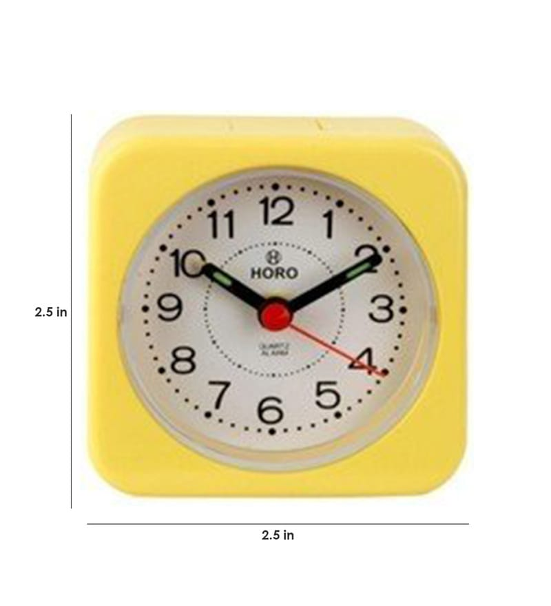 Yellow Plastic 2.5 x 2.5 x 1.2 Inch Alarm Clocks  by Horo