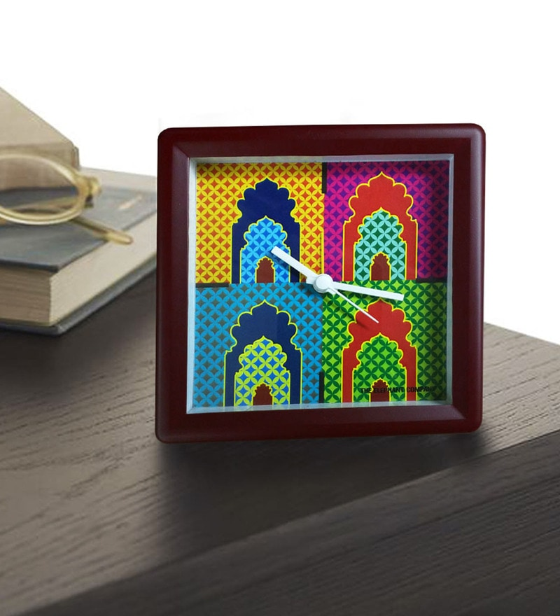 Multicolour Plastic and Acrylic 5 x 5 x 2 Inch Mihrab Alarm Clock by The Elephant Company