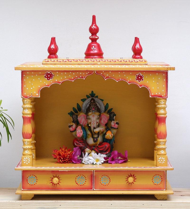 Buy Yellow Teak Wood Carving Temple By Pavitra Mandir Online