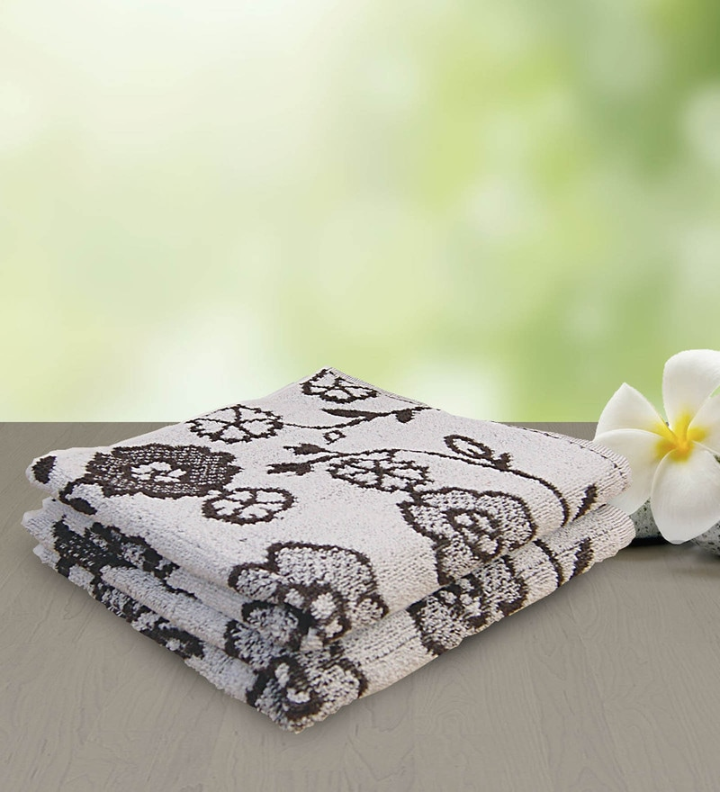 Brown 100% Cotton 15 x 27 Hand Towel - Set of 2 by Yellow Spun