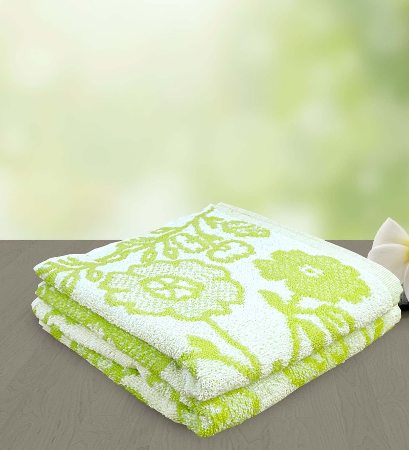 Green 100% Cotton 19 x 35 Hand Towel - Set of 2 by Yellow Spun
