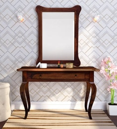 York Solid Wood Dresser Table With Mirror In Honey Oak Finish ...