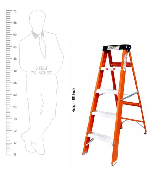 5 Steps 4 6 ft Fibre-Reinforced Plastic Step Ladder by Youngman