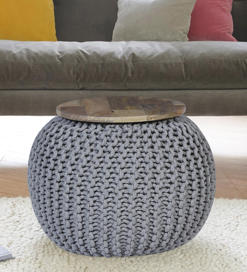 Yoko Pouffe in Grey Color by Bohemiana