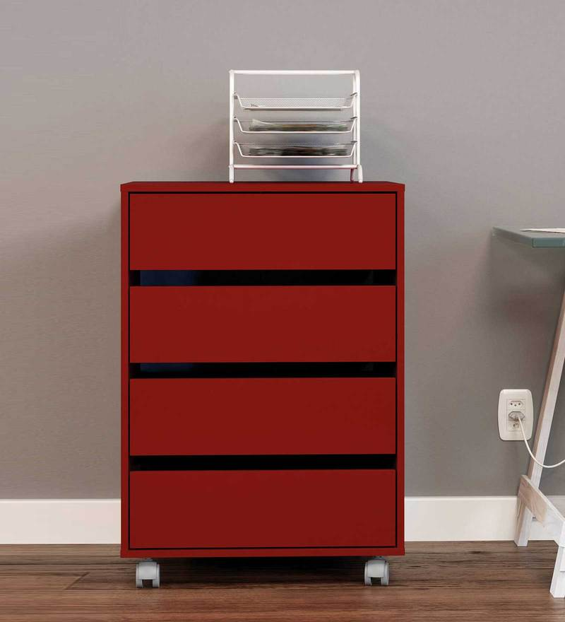 Youta Storage Unit with Four Drawers & Swivel Castors in Burgandy Colour by Mintwud