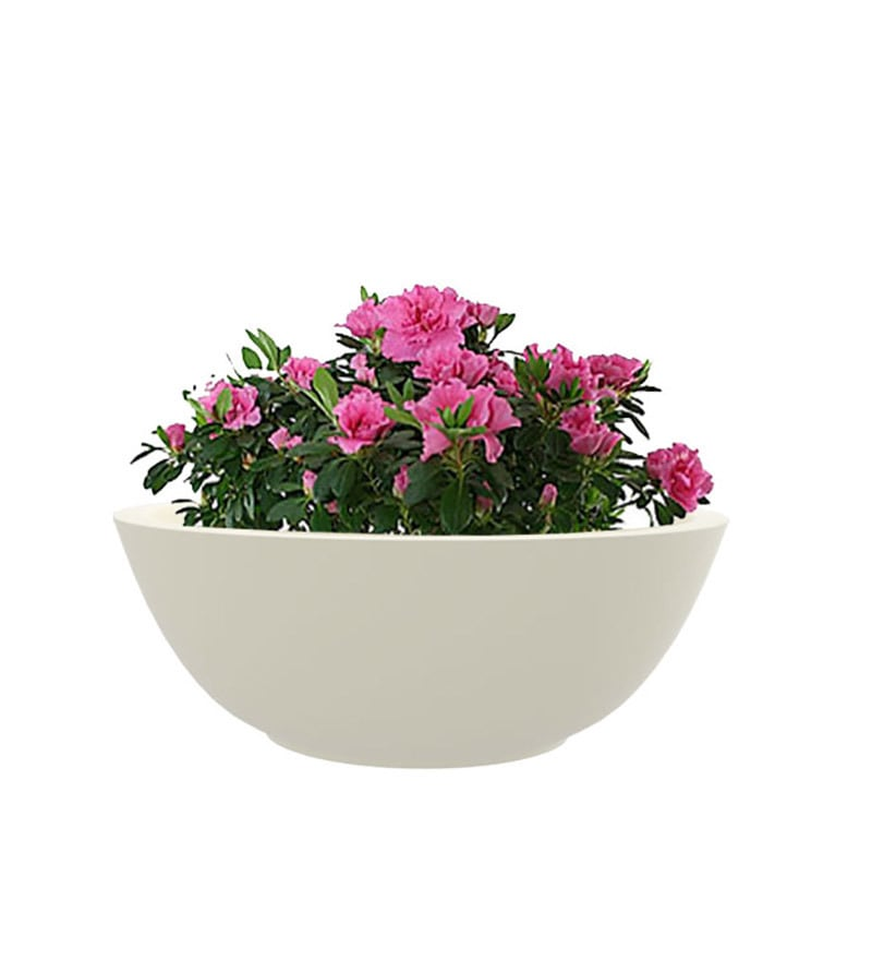 KTR Small White Polystone Planter by Yuccabe Italia