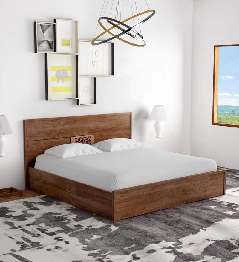 53984f71d Buy Checkers King Bed with Box Storage in Walnut   Acacia Dark Matt ...