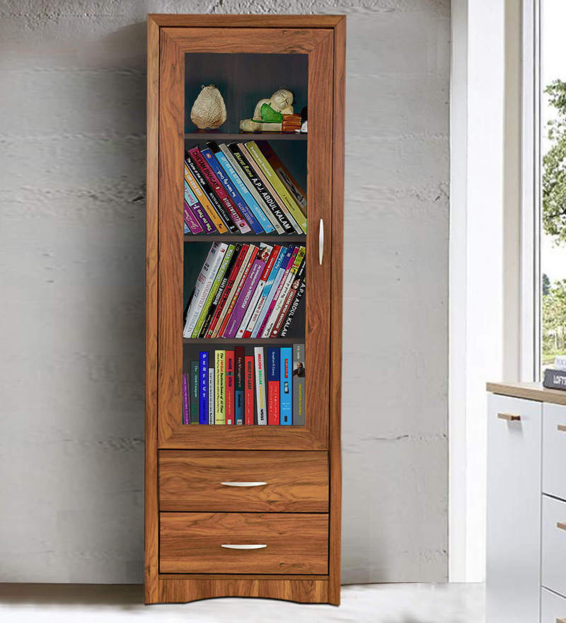 Yuko One Door Book Case in Columbia Walnut Finish by Mintwud
