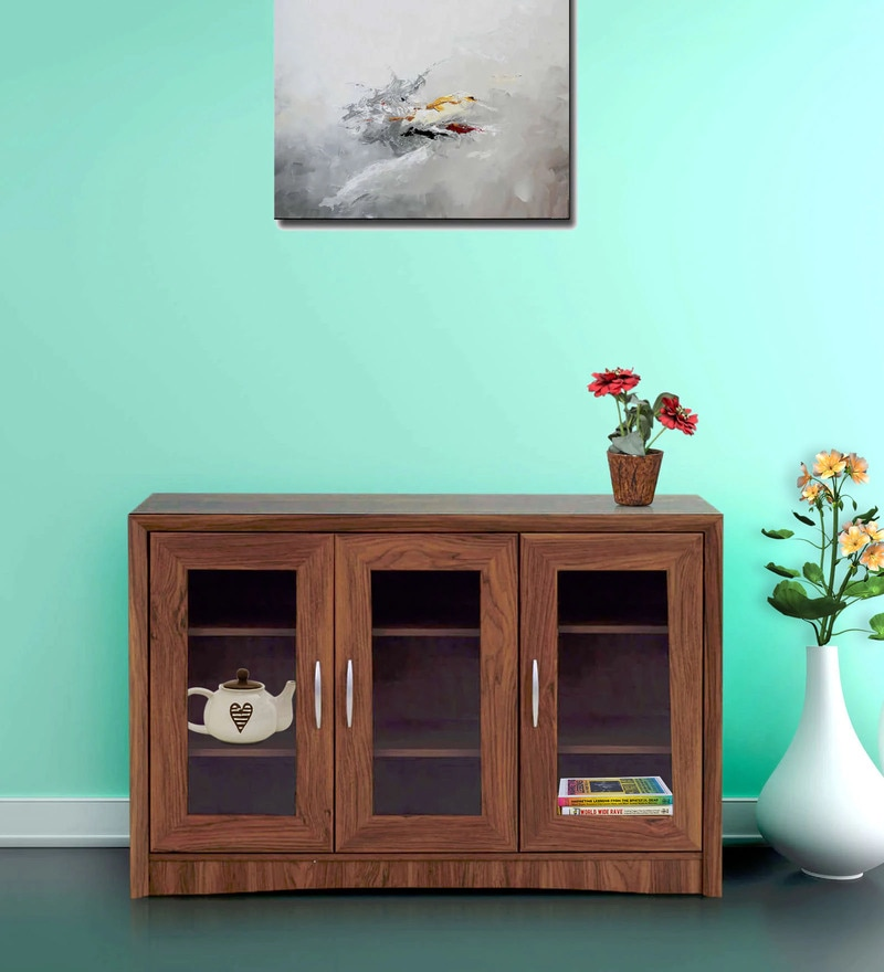 Yuko Three Door Storage Cabinet in Columbia Walnut Finish by Mintwud