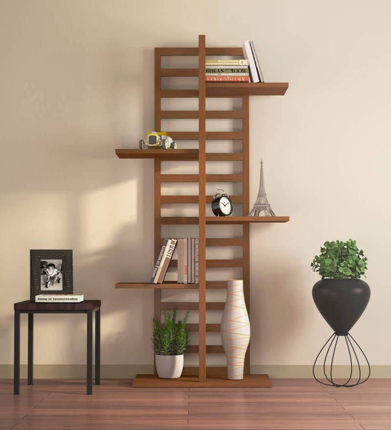 Yuri Display Unit cum Book Shelf in Sonoma Oak Finish by Mintwud