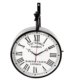 black metal 12 x 3 x 16 inch victoria two sided wall clock