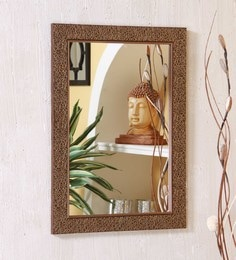Zahab Brown Mdf 12 X 1 18 Inch Thread Framed Bathroom Mirror