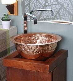 Zahab Fruits Design Hammered Copper Wash Basin
