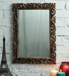 Zahab Rectangle Antique Golden Mangowood Carving Decorative Mirror
