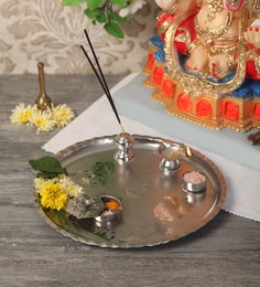 Diya online buy puja diyas online in india at best prices pepperfry zahab silver stainless steel decorative puja thali mightylinksfo