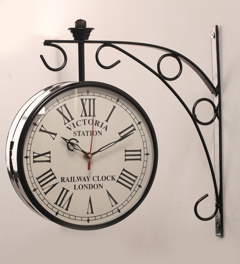 buy black iron 11 x 6 x 13 inch victoria double sided wall clock by zahab online retro clocks retro clocks pepperfry