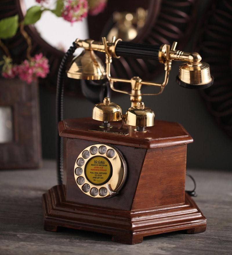 Brown Brass & Wood Maharaja Prism Box Retro Telephone by Zahab