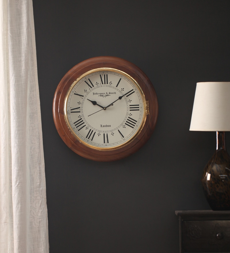 Brown Wooden 16 x 2.5 x 16 Inch Roman Time Wall Clock by Zahab