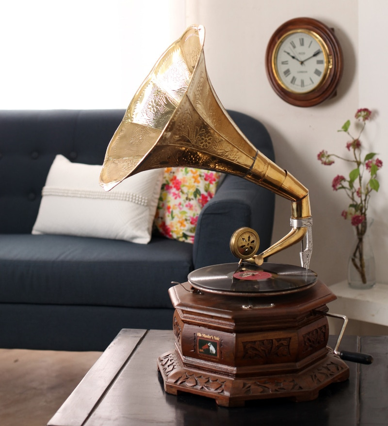 Brown Wooden Antique Brass Hexagon Craving Gramophone with Record by Zahab