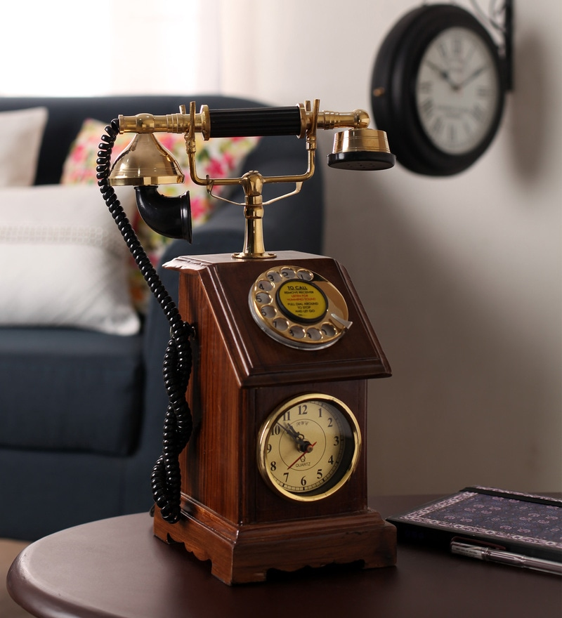 Brown Wooden Antique Maharaja Telephone with Clock by Zahab