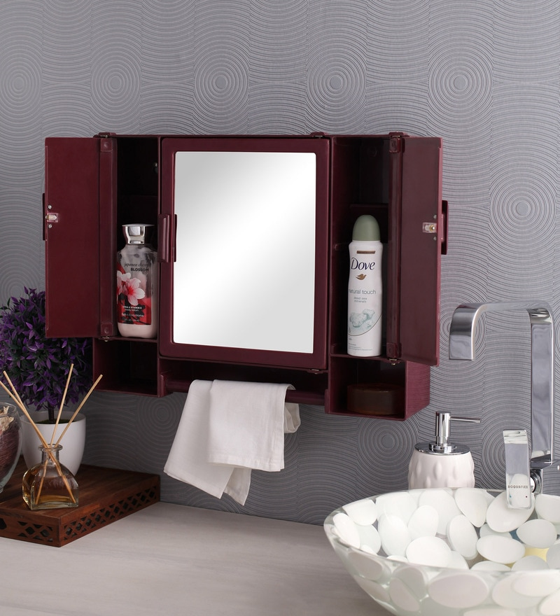 Zahab Pulse Three Door Plastic Cabinet- Cherry