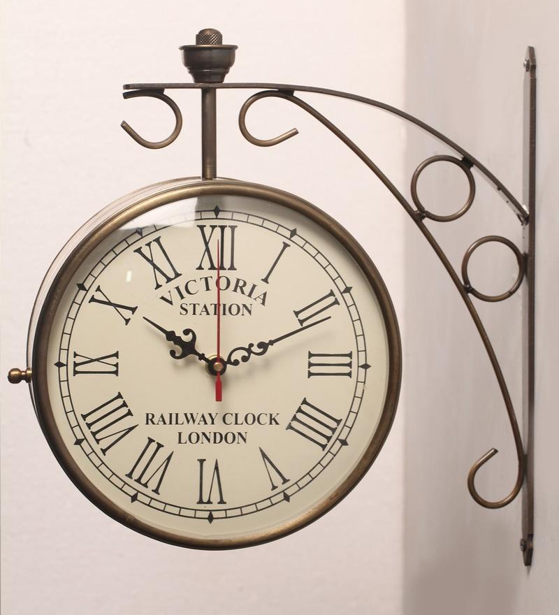 Buy Gold Finish Iron Railway Clock By Zahab Online