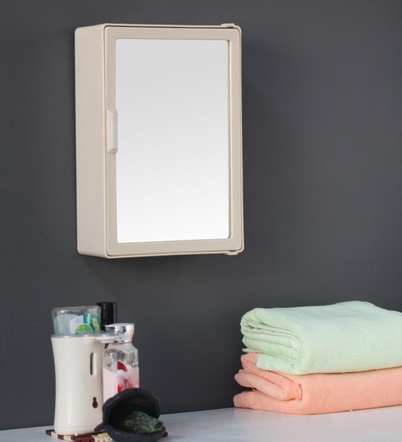 Zahab Medium Single Door Plastic Cabinet- Cream