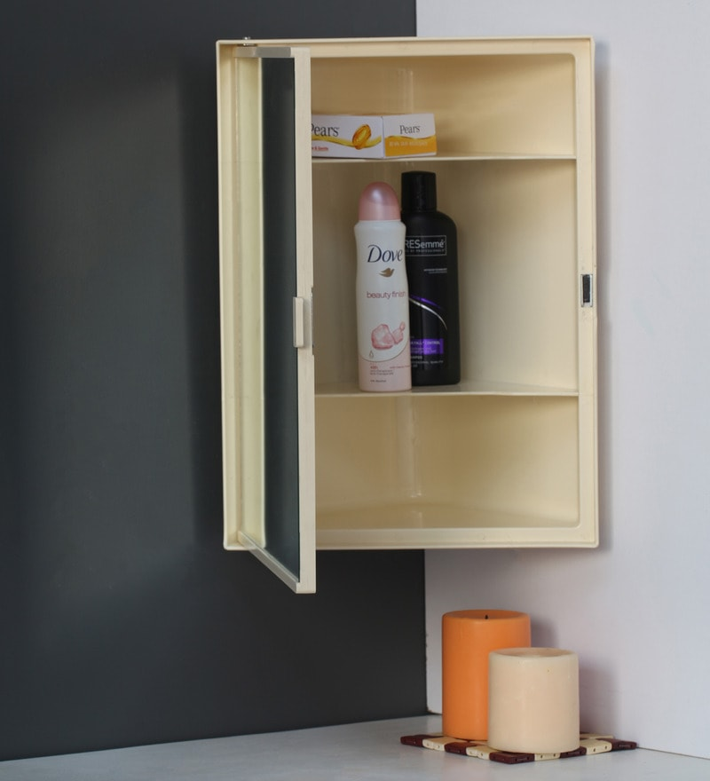 Buy Plastic Cream 3 Compartment Bathroom Cabinet With