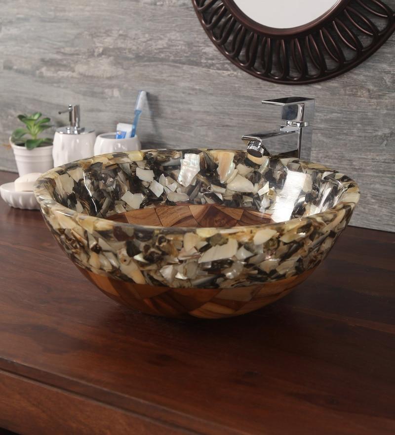 Zahab Round Fusion Semi Precious Stone Mix Multicolour Wood and Resin  Wash Basin (Model: T35-214)