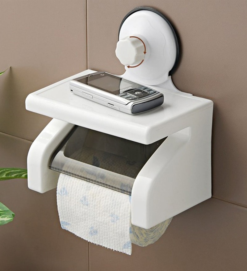 Zahab White Plastic 7 x 4.3 x 8.2 Inch Suction Waterproof Roll Paper Holder