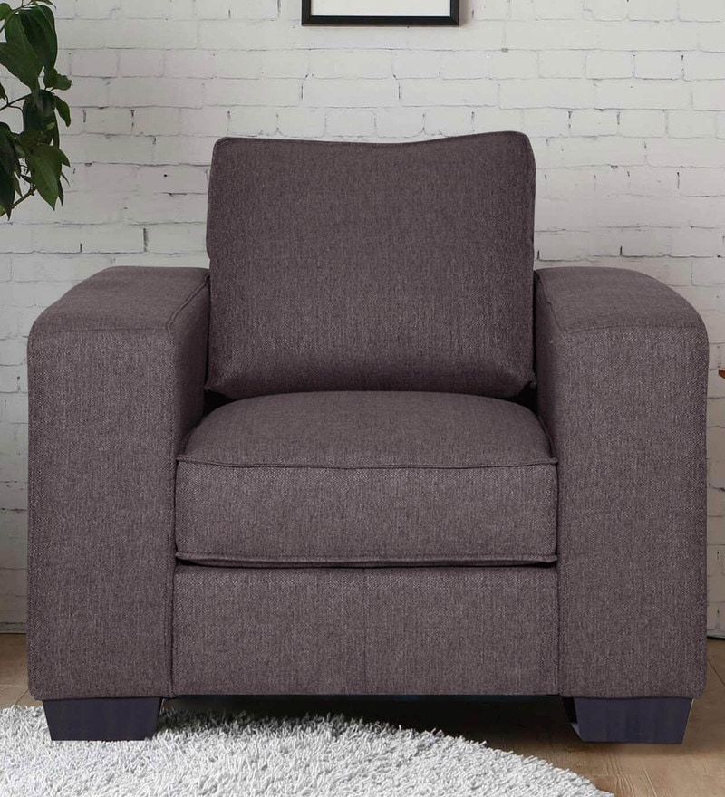 Zaira One Seater Sofa in Dark Grey Colour by Evok