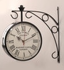 Zahab Black Iron 11 x 6 x 13 Inch Victoria Double Sided Wall Clock