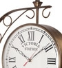 Copper Metal 12 x 3 x 16 Inch Victoria Antique Two Sided Wall Clock by Zahab