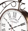Copper Metal 14 x 3 x 16 Inch Victoria Antique Two Sided Wall Clock by Zahab
