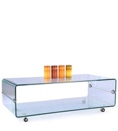 Zee Tempered Glass Rectangular Table With Wheels
