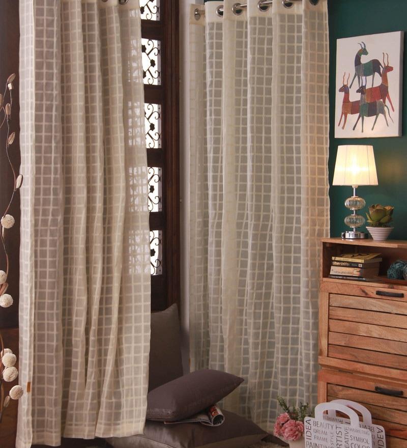 Beige Cotton Curtain by Marigold