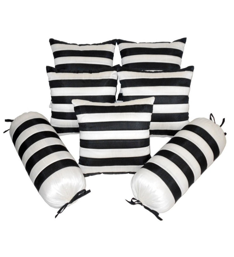 Black & White Polyester Bolster & Cushion Cover - Set of 7 by Zikrak Exim