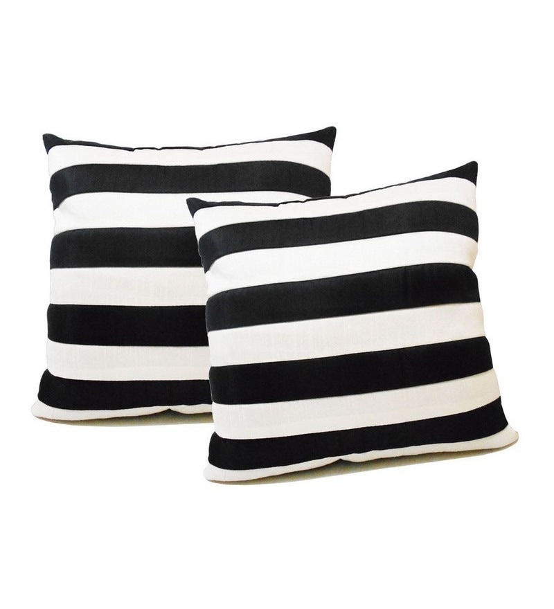Black Polyester 16 x 16 Inch Cushion Covers - Set of 2 by Zikrak Exim