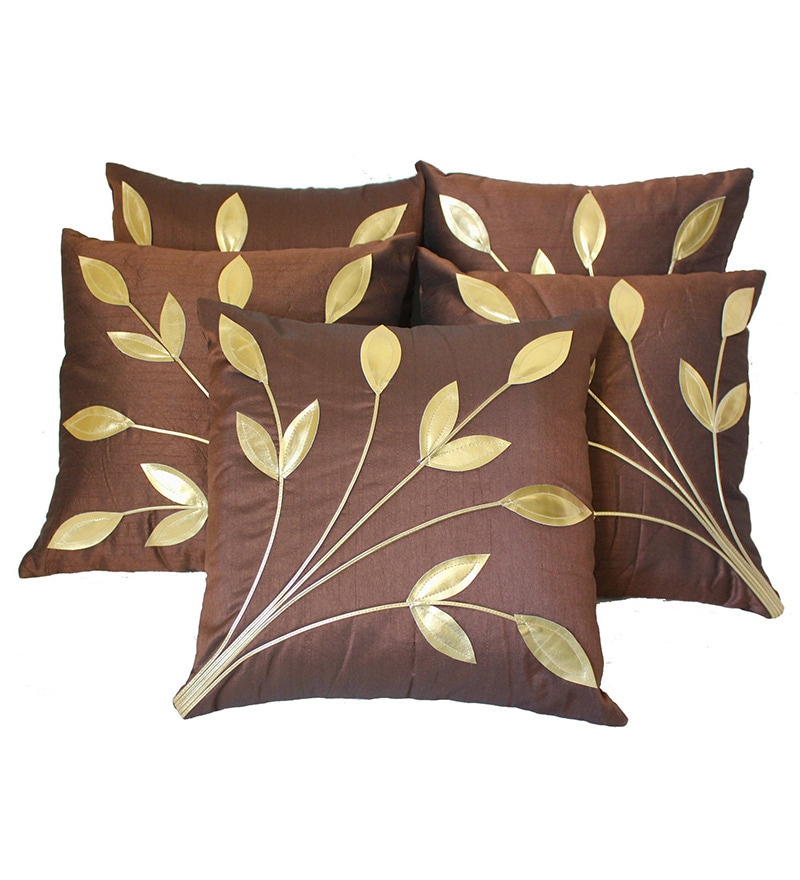 Brown Polyester 16 x 16 Inch Cushion Covers - Set of 5 by Zikrak Exim